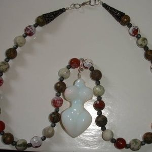 Opal and Fire Agate Goddess Statement Necklace